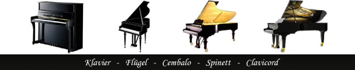 Piano, grand piano, Cembalo, Spinett, Clavicord